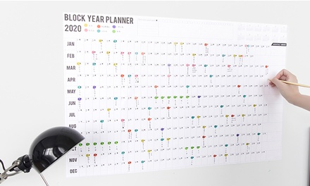 2020 Wall Year Planner with Two Sheets of Colourful Mark Stickers: One ($9.95) or Two ($14.95)