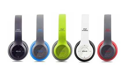 P47 Foldable Bluetooth Wireless Headphones with Microphone and FM Radio: One Pair ($19) or Two Pairs ($29.95)